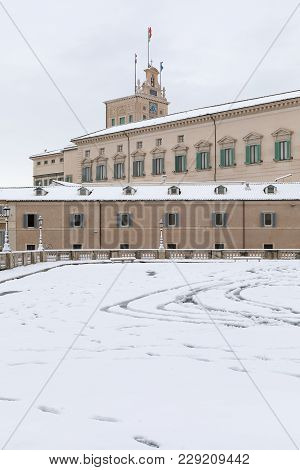 Snow Covers The Streets Of Rome, Italy. Piazza Del Quirinale.
