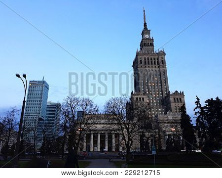 Warsaw, Poland - December 15, 2017: Palace Of Culture And Science, A Notable High-rise Building