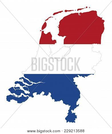 Flag In The Outline Of The Netherlands. Flag In Red, White And Blue Colors. Horizontal Tricolor Bann
