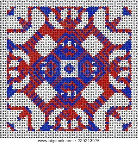 Cross Stitch- Abstract Art. Fashion Geometry- Ornament Mosaic. Textile Decor- Embroidery Pattern. 3d