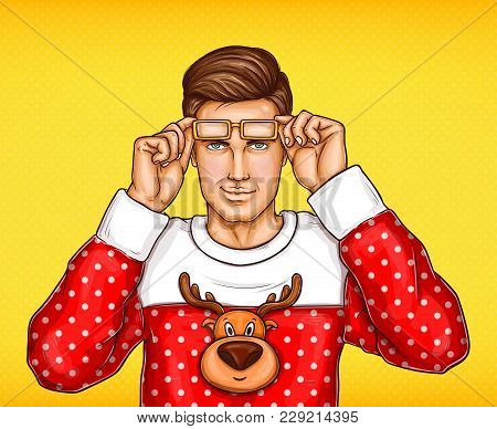 Vector Pop Art Man In Christmas Red White Sweater With Deer Print Taking Off Glasses. Confident Hand