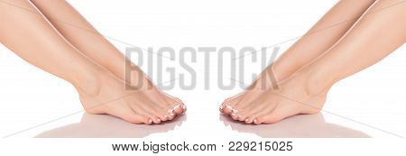 Set Female Feet Legs Heel Of Foot From Different Directions Medicine Beauty Health On A White Backgr
