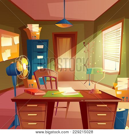 Vector Illustration Of Working Space, Study Room Interior. Desktop With Table, Cabinet, Lamp, Fan, B
