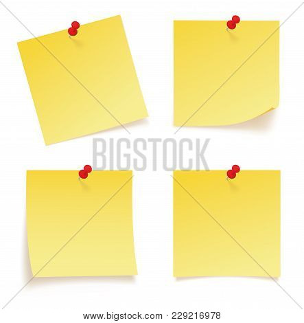 Realystic Set Stick Note Isolated On White Background - Stock Vector.