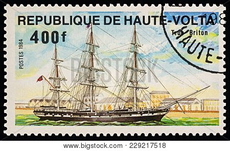 Moscow, Russia - March 01, 2018: A Stamp Printed In Upper Volta (burkina Faso) Shows Sailing Ship