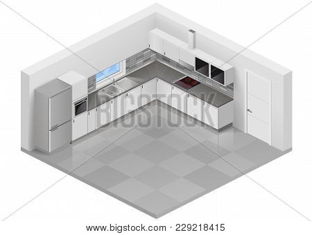 Modern White Kitchen In Isometric Projection. Design Scheme Of Interior Furniture. Vector Graphics
