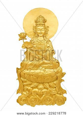 Close Up Chinese God Guan Yin Craft By Golden Wooden Isolated On White Background