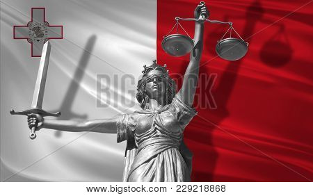 Cover About Law. Statue Of God Of Justice Themis With Flag Of Malta Background. Original Statue Of J