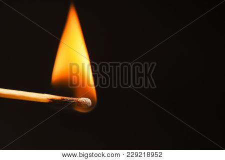 Triangular Flame From A Wooden Match Close Up
