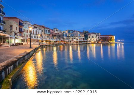 CHANIA, GREECE - APRIL 5, 2017 : Old Venetian harbour of Chania on Crete, Greece. Chania is the second largest city of Crete and the capital of the Chania regional unit.