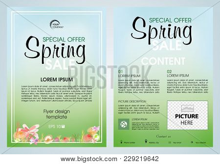Vector Flyer, Corporate Business, Annual Report, Brochure Design And Cover For Spring Sale With Flow