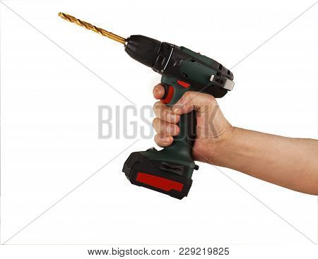 Cordless Drill Screwdriver In Hand On White Background