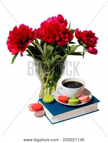 Red Peonies, Book  And Cup Of Coffee Isolated On White Background
