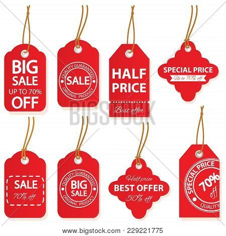 Sale Labels Set In Red And White Colors.
