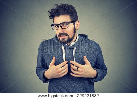 Young Bearded Man Pointing At Himself Feeling Guilty In Awkward Situation And Looking At Camera On G
