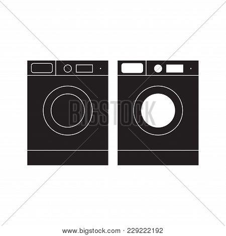 Washing Machine Icon Vector Illustration. Washing Machine Flat Sign. Isolated On White Background.