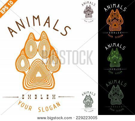 Animal Logo (sign, Emblem, Symbol)with Paw And Claws Made In A Decorative Manner Of Orange With Seve