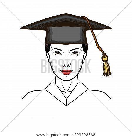 Young Woman In Graduation Cap Isolated On White. Girl Graduate Student Wearing Graduation Hat And Go