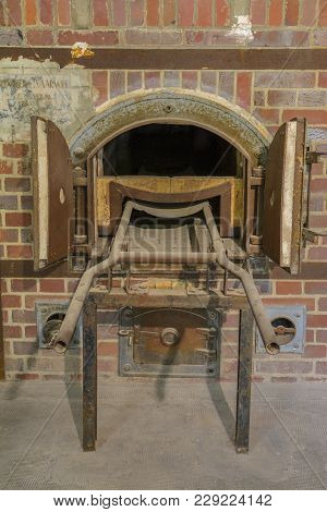 Dachau, Germany - July 30, 2016: Oven Crematorium From Concentration Camp.
