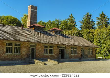 Dachau, Germany - August 29, 2015: Ovens Crematorium From Concentration Camp.