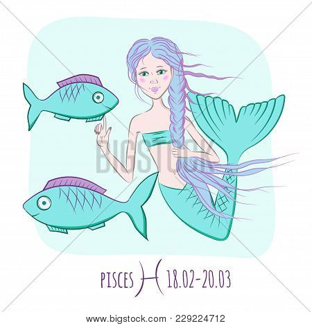 Pisces Zodiac Astrological Sign. Mermaid And Two Fishes Vector Illustration
