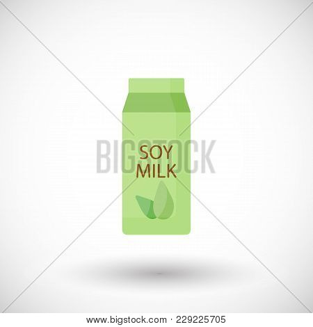 Soy Milk Flat Vector Icon, Lactose Free Flat Design. Food, Healthy Eating Objects, Soy Product With