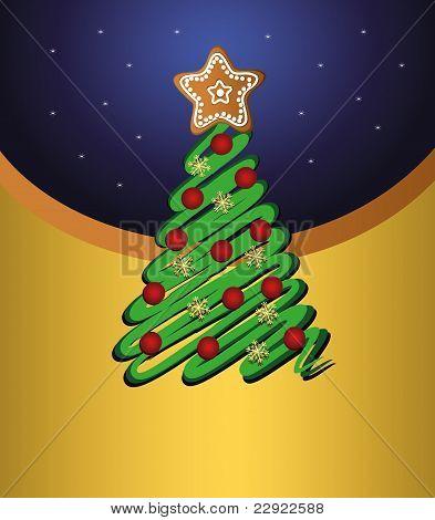 Stock Vector Ilustración: Tarjeta de oro vector feliz Navidad árbol verde