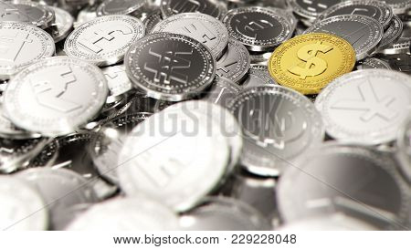 Big Stack Of Different Coins With A Dollar Coin As Only Golden Coin. 3d Rendering