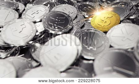 Stack Of Different Coins And Dollar Coin With Bright Blink On It. 3d Rendering