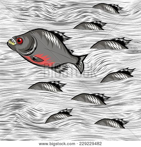 Cartoon Fish Swimming On Water Line Background