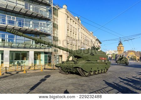 Moscow, Russia - May 09, 2017: Russian Self Propelled Artillery Koalitsiya-sv On Parade Festivities