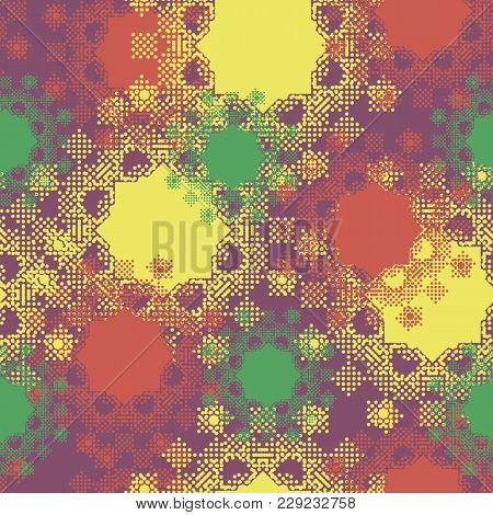 Geometrical Vague Shapes From Small Circles In Checkerboard Pattern Bright Colorful Multicolored Sea