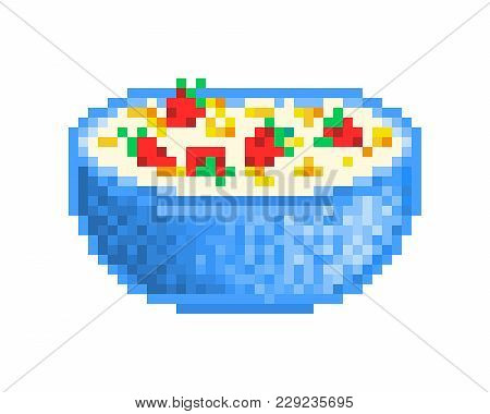 Big Blue Bowl Of Cornflakes Served With Milk And Fresh Strawberries, 8 Bit Pixel Art Icon Isolated O