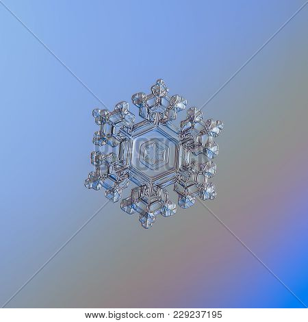 Snowflake Glittering On Smooth Gradient Background. Macro Photo Of Real Snow Crystal: Beautiful Stel