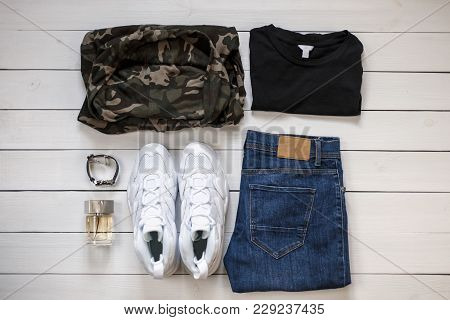 Fashionable Stylish New Spring Summer Men's Clothing Collection 2018 On A Wooden White Background. W