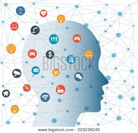 Concept Of Artificial Intelligence With Icons On Human Head. Networks Design Concep With Icons On Ba