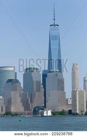 Clipper Tall Ship With Stella Artois Sails Past World Trade Center