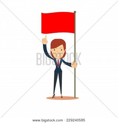 Happy Businesswoman Pointing To Red Flag. Start Up Business Concept. Stock Flat Vector Illustration.