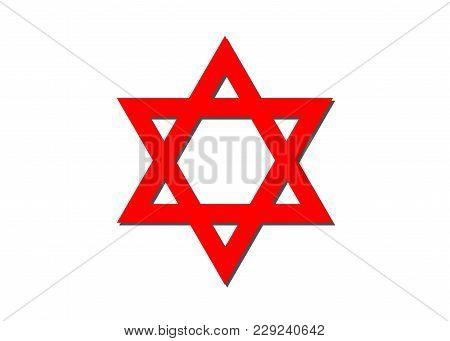 Vector Symbol Of Judaism Religion, Red Star Of David