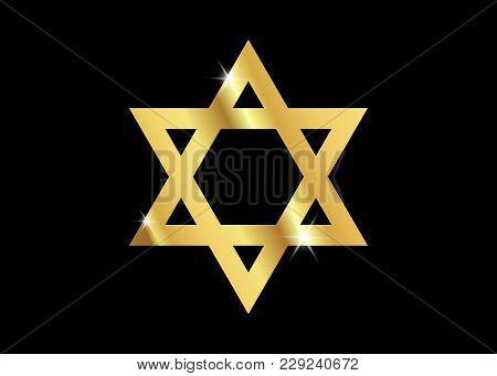 Vector Symbol Of Judaism Religion, Gold Star Of David