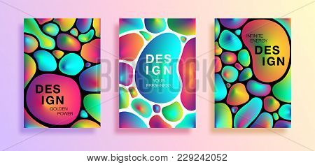 Set Of Poster Or Covers With Colorful Plasma Drops Shapes. Abstract Bright Liquid Drops On White And