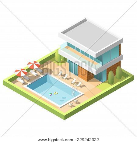 Outdoor Pool For Swiming Near Hotel. Isometric Low Poly Vector Illustration