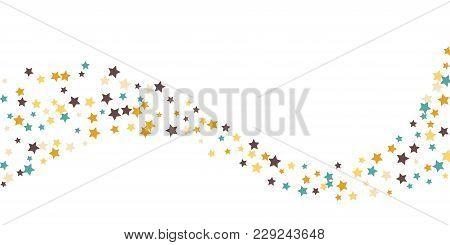 Abstract Flying Confetti Star. A Falling Star Background. White Background With Blue, Yellow And Bro
