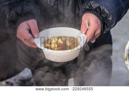 Feeding Homeless People On The Street, Social Problems, Hungry People Eat