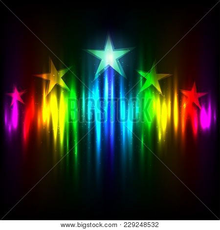 Rainbow Hollywood Stars Rise Up On Colors Light Template Background. Cinematography Entertainment In