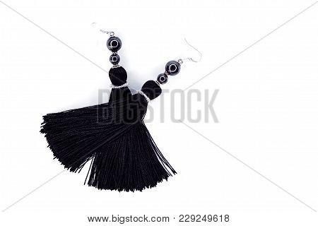 Black Handmade Earrings-brushes On A White Background.