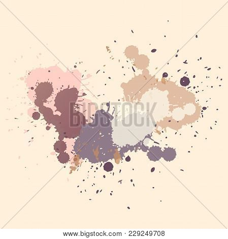 Vector Abstract Background. Colorful Ink Spots, Acrylic Paint Splatter, Grunge Abstract Painting Bac