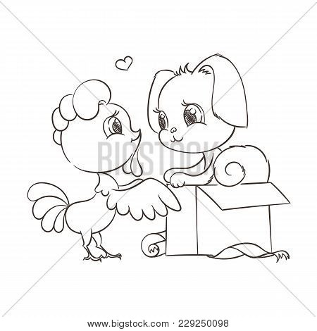 Funny Cartoon Card With Dog And Rooster. Symbols Of 2017 And 2018. Happy New Year Vector Illustratio