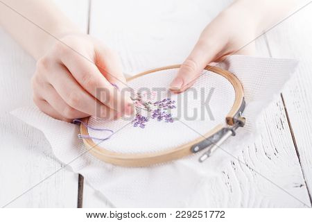 Embroidery And Cross Stitch Accessories In Hand