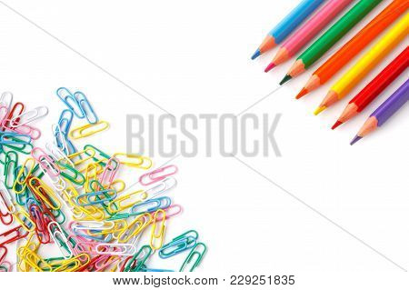 Close Up Of Many Colourful Paper Clips
